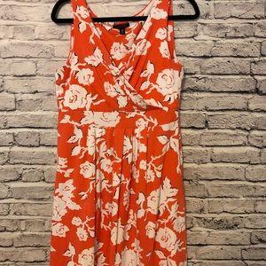 Lands End Fit and Flare Orange Floral Dress